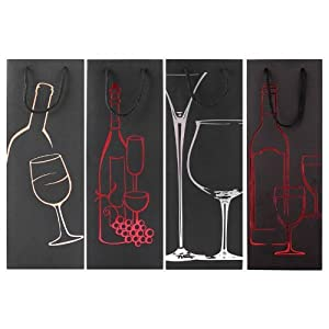 Deluxe Black Wine / Spirits / Champagne Bottle Gift Bag / Wrap Wedding / Christmas / Birthday Favours Party Bag 4 PACK