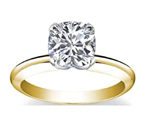 14K Yellow Gold Solitaire Diamond Engagement Ring Cushion Cut ( J Color VS2 Clarity 4.01 ctw) - Size 3