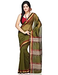 Utsav Fashion Women's Olive Green Pure Chanderi Silk And Cotton Saree With Blouse