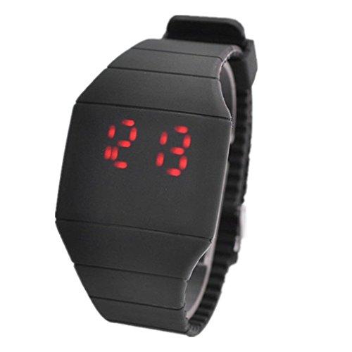 lionm Unisex Touch Screen LED rosso orologi ultrasottile in plastica Candy colore digitale Sport orologio da polso nero