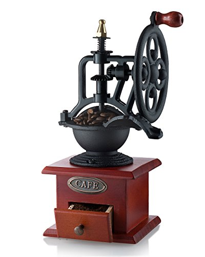 Gourmia GCG9315 Manual Coffee Grinder Antique Cast Iron Hand Crank Coffee Mill With Grind Settings & Catch Drawer 12.5 x 12.5 x 26 cm