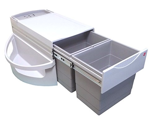 Hailo 3645121 Abfallsammler Rondo 90.2/36 3645-12 Mülleimersystem mit Vollauszug per Hand für den Einbau Eckunterschrank, 48 L, 90 x 90 cm, grau