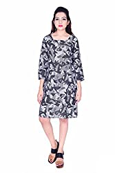 MSONS Women's Black Monochrome Printed Square Neck Short Dress in Rayon Fabric