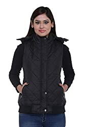 Trufit Sleeveless Solid Women's Black Quilted Removable Hood Polyetser Bomber Polyfill jacket
