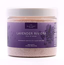 Premium Bath Salts, Lavender Riviera by Blue Coast Collection-Relieve Stress, Soothe-Soften Skin, Better Sleep. Made in USA-Natural Salts for Bath w/ Lavender Essential Oils. Indulge yourself today!
