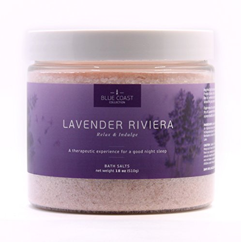Premium Bath Salts, Lavender Riviera by Blue Coast Collection-Relieve Stress, Soothe-Soften Skin, Better Sleep. Made in USA-Natural Salts for Bath w/ Lavender Essential Oils. Indulge yourself today! (Bathing Salt compare prices)