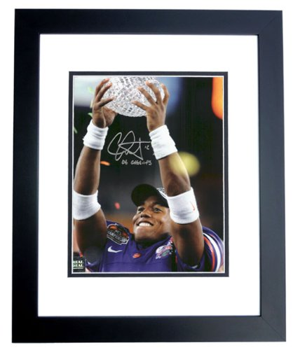 Chris Leak Autographed / Hand Signed Florida Gators 8x10 National Championship Trophy Photo - BLACK CUSTOM FRAME with 06 CHAMPS inscription ryan fitzpatrick autographed hand signed buffalo bills 8x10 photo