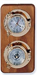 Quartz Clock & Barometer Weather Station on Oak Wood Base