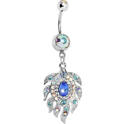 Body Candy Stainless Steel Aurora Blue Accent Peacock Feather Dangle Belly Ring (Peacock Belly Button Ring compare prices)