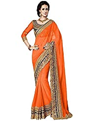 B Bella Creation Orange Colour Heavy Embroidered Georgette Bollywood Designer Saree With Unstitched Blouse Piece