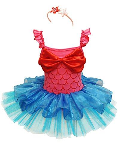 [FEESHOW Girls Princess Costume Leotard Tutu Skirt Dress with Starfish Headband] (Mermaid Fairy Costumes)