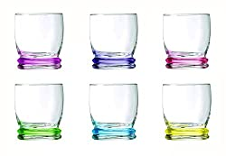 Luminarc Cortina Rainbow Old Fashion Tumbler Set, 310ml, Set of 6, Multicolour