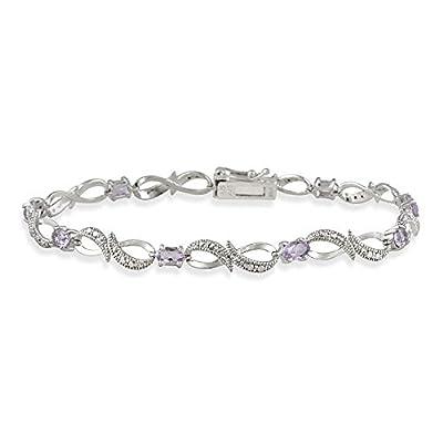Sterling Silver Amethyst & Diamond Accent Swirl Infinity Bracelet