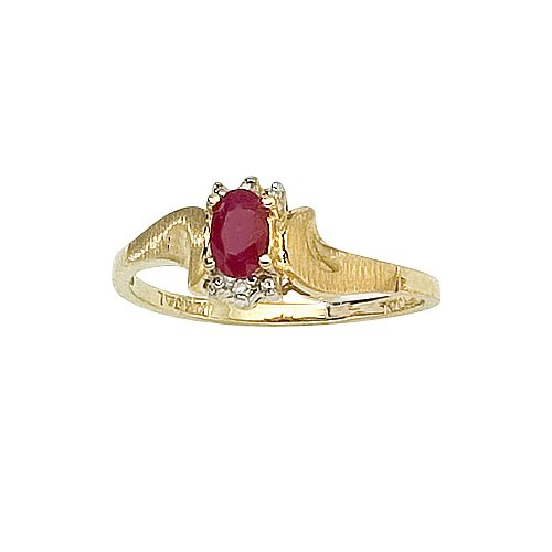 14K Yellow Gold 0.01 ct. Diamond and 5 x 3 MM Oval Shaped Ruby Ring