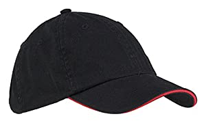 Big Accessories BWTS Washed Twill Sandwich Cap - Black/Red - OS