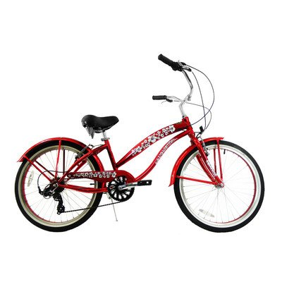 Women's 7 Speed Beach Cruiser Frame Color: Red