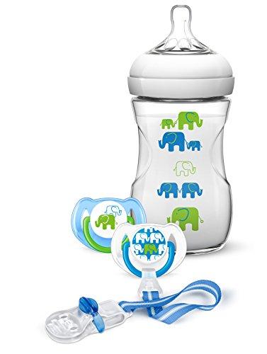 Philips-AVENT-SCD62701-Elefanten-Geschenk-Set-fr-Jungen-Naturnah-Flasche-2-Beruhigungssauger-Schnullerkette