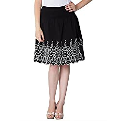 Instinct Women's Cotton Printed Skirts (AM302_S, Black, Small)