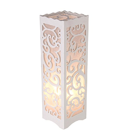 Dailyart White Table Lamp Nightstand Light Bedside Lamp With Vine Shaped Cutout, 3.9  3.9  13.8 Inches, E26 Bulb Base, 85V To 265V