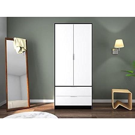 CAPRI Armoire de chambre style contemporain mélaminée blanc et contours noir mat - L 90 cm