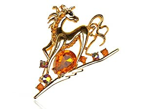 Shiny Golden Tone Topaz Clear Crystal Rhinestone Running Horse Animal Pin Brooch
