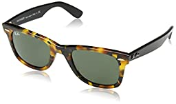 Ray-Ban Original Wayfarer Sunglasses RB2140 1157-50 - Spotted Black Havana Frame, Green