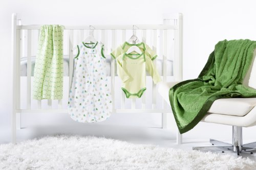 SwaddleDesigns 6 Piece Lightweight Crib Bedding Set with Luxury Adult Blanket, Pure Green, 0-6months