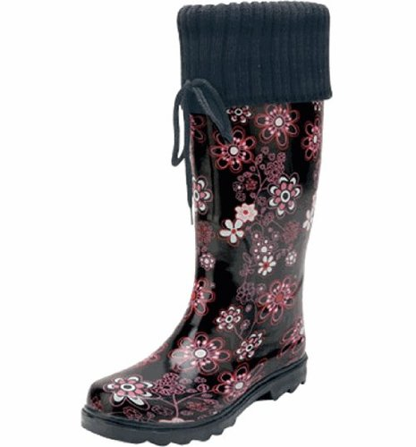 Natural Breeze Women's Rubber Rain Boots Floral Knit-cuff (6) K1