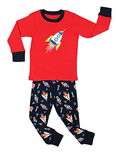 "Elowel Boys ""Rocket"" 2 Piece Pajama Set 100% Cotton - 5 Toddler front-862510"