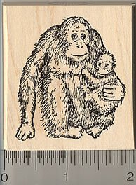 Orangutan and Baby Rubber Stamp