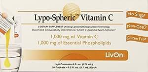 Lypo-Spheric Vitamin C , 0.2 fl oz. - 30 Packets   1,000 mg Vitamin C Per Packet   Liposome Encapsulated for Maximum Bioavailability   Professionally Formulated   100% Non-GMO, Ultra-Potent Vitamin C   1,000 mg Essential Phospholipids Per Packet