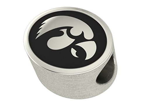 Iowa Hawkeyes Sterling Silver Antiqued Bead Fits Most European Style Bracelets