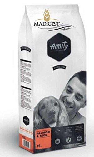 CROCCHETTE AMITY SALMONE E RISO PREMIUM DA KG 15 alimento completo per cani