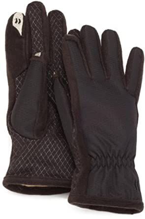 Isotoner Women's SmarTouch Glove with Gathered Wrist and Ultra Plush Lining, Black, Medium/Large