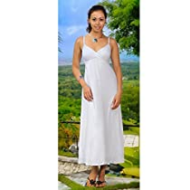 1 World Sarongs Womens Long Summer Embroidered Dress in White - Medium