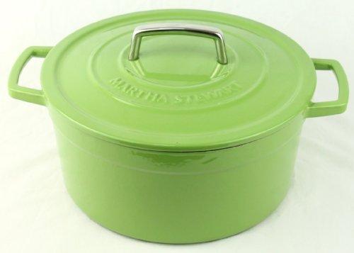 Green Enameled Cast Iron 6 Qt. Round Dutch Oven Casserole front-373152