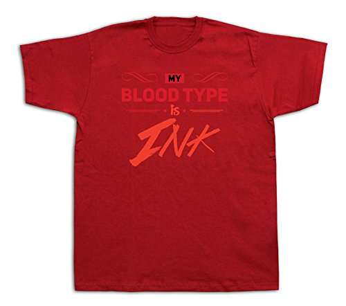 New Mens Cotton T-Shirt Print My Blood Type Is Ink Graphic Fashion Design