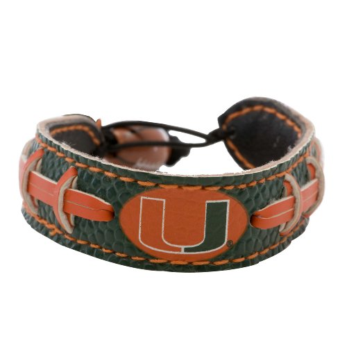 Miami Hurricanes Team Color Ncaa Gamewear Leather Football Bracelet