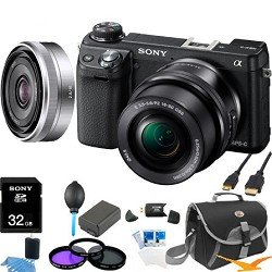 Sony NEX-6L/B NEX6 NEX-6 NEX-6L 16.1 MP Compact Interchangeable Lens Digital Camera with 16-50mm Power Zoom Lens and 3-Inch LED (Black) + Sony 16mm f/2.8 Lens ULTIMATE BUNDLE with 32GB High Speed Card, Spare Battery, Deluxe Filter Kit+ More!