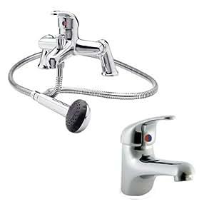 Best Bathrooms Mitigeur bain douche et robinet lavabo monobloc modernes avec pomme de douche incluse