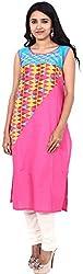 Touch Patiala Women's Cotton Regular Fit Kurta (Pink, X-Large)