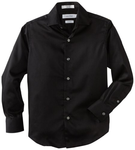 Calvin Klein Big Boys' Long Sleeve Sateen Dress Shirt, Black, 14