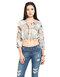Printed Crop Top With Placket Detailing X-Large