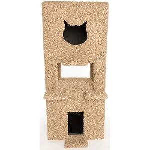 Two Story Cat Condo and Litter Box Enclosure Slider: Carpet, Carpet Color: Barn Wood, Door: Cat Face Shape / Cat Face Shape