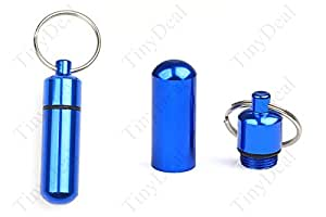 10 Pcs New Style Blue Metal Keychain Pill Shaped Waterproof Stash Case Drug Holder Air Tight FTH-5205