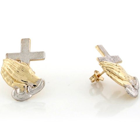 14k Real 2 Tone Gold Praying Hands Cross Religious Stud Unisex Earring