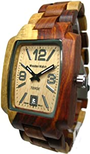 Tense Inlaid Multicolored Natural Wood Watch Hypoallergenic Mens Light Dial J8102I LF from Tense