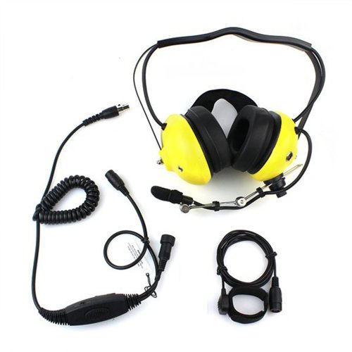 Yellow Color Military Professional Noise Cancelling Overhead Headset Earpiece Boom Microphone With Ptt For 1-Pin 3.5Mm Yaesu Vertex Radio