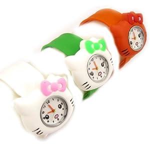 3 slap watches 'Hello Kitty'white green orange.