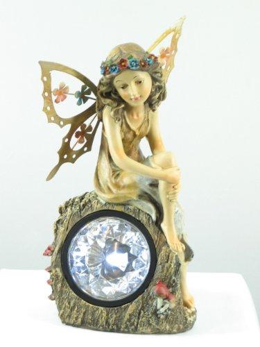 """Wunderschöne LED Solar Gartenleuchte Solar Gartenstrahler """"Elfe"""", mit kunstvoll geformter handgemalter Figur aus Polyethylin"""